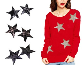 2 PCS Iron On Stars Applique Design for Fashion Crafts and Home Decor