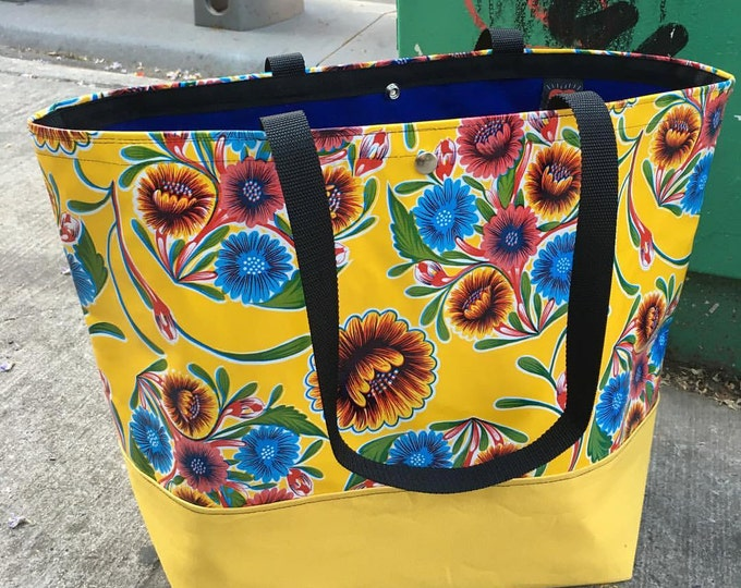 Featured listing image: Large Yellow Floral Oil Cloth and Canvas Trimmed Beach Bag, Tote Bag, Satchel