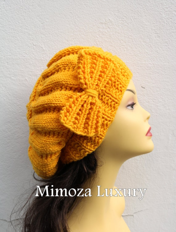 Yellow Woman Hand Knitted Hat with Bow, Yellow Beret hat with bow, Yellow knit hat, slouchy knit women's hat with bow, winter hat, Yellow