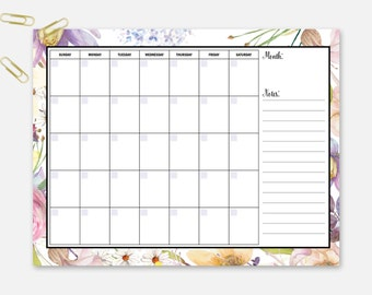 Monthly Planner, Monthly Calendar, Editable Calendar, Editable Planner, Printable Planner, Monthly Organizer, Printable Monthly Planner