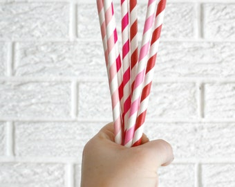 Valentines decor ... 20 paper straws ... baby bridal shower decorations // candy dessert buffet table // wedding party decor