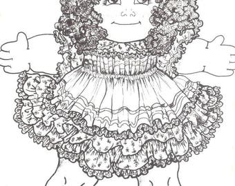 """cabbage patch looking 19"""" doll fabric rag very cute dress & doll sewing pattern"""