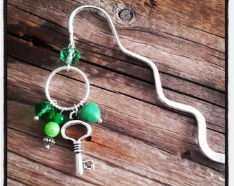 Silver charm bookmark green beads