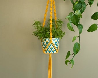 Outdoor decor, Macrame planter Bright yellow planter Gift idea plant hanger for small or medium pot, Plant moms, gift for mom