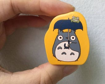 Totoro Stamp - Wooden Rubber Stamp - Umbrella and frog