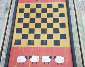 Primitive Game Board With Wooden Counters Vintage OOAK