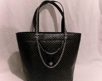 black faux leather tote style handbag