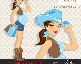 Brunette Cowgirl Pregnant Woman Character carrying gift bags Clipart. Baby Shower Party Invitation Character. Cowgirl, cowboy boots, western