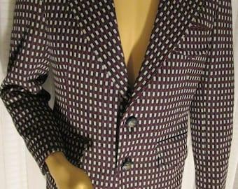 On Sale---------1970's MALE Poly Knit Print JACKET in Wine/White/Dk Blue by Kingkraft International