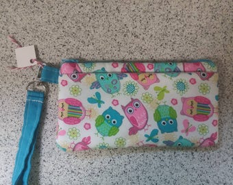 Handmade Owl Print Wallet Wristlet Phone Case with strap