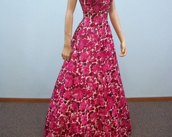 Vintage 40s Dress . Rose Pink Floral Print Gown . Full Skirt Dress . XS S