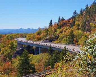 Linn Cove Viaduct Blue Ridge Parkway North Carolina Autumn Fall Colors Blue Sky Winding Road Grandfather Mountain Slope Bridge Asheville