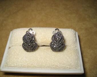 Sterling Marcasite Earrings Clip Vintage