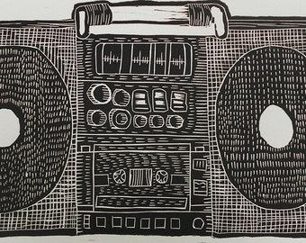 Boombox linocut print handmade