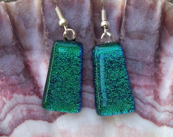 Emerald green dichroic fused glass dangle earrings