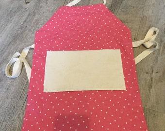 Children's apron, Pink and white spot Apron, Adjustable apron,     Toddler apron, Tradition apron