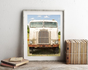 Truck Photography, Print or Canvas Gallery Wrap, Antique Freight Liner, Rustic Farmhouse Art, Rusty White, Rustic Photo - White Freightliner