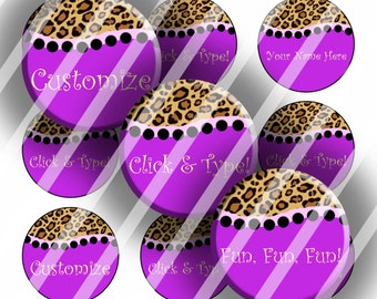 "Editable Bottle Cap Collage Sheet - Purple Leopard (153) - 1"" Digital Bottle Cap Images"
