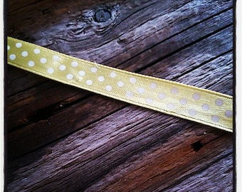 Satin ribbon yellow polka dot 9 mm