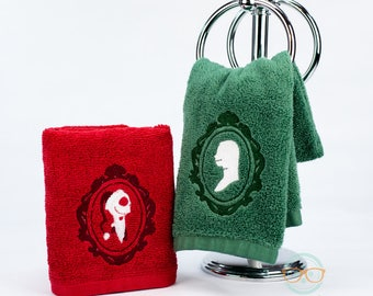 Nightmare Before Christmas Hand Towel Set - His and Hers - Jack Skellington & Sally Christmas Set - Embroidered Movie Bathroom Towel Decor
