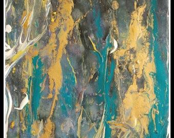 Turquoise Fluid art print canvas abstract painting large wall art modern art living room art abstract wall art painting canvas modern art