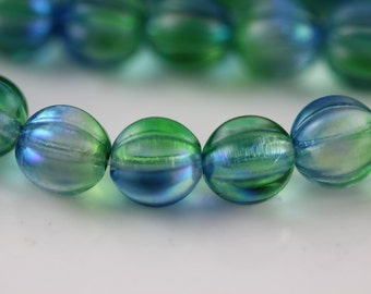 Deep Sea Blue : 8mm Melon, Round Czech Glass Bead 12 or 25 pcs