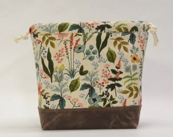 Rifle Paper Co Amalfi Herb Garden Natural Large Drawstring Knitting Project Craft Bag - READY TO SHIP