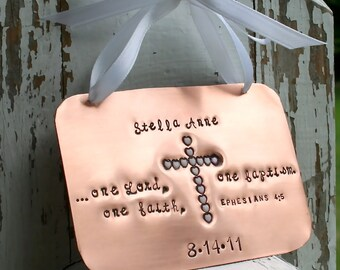 Baptism Copper Keepsake Ornament with stamped enameled heart cross