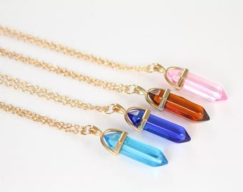 Crystal Pendant Necklaces in Gold and Silver , Blue Zircon , Sapphire Blue , Topaz , Rose Pink , 925 Sterling Silver Jewelry