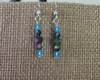 Blue/purple AB square and blue & purple faceted glass bead earrings