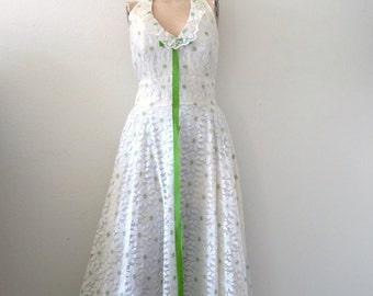 1960s Party Dress - white floral lace halter gown - mod wedding dress