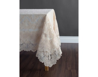 Wedding lace table cloth - Custom size wedding table cloth - Free shipping in US!!