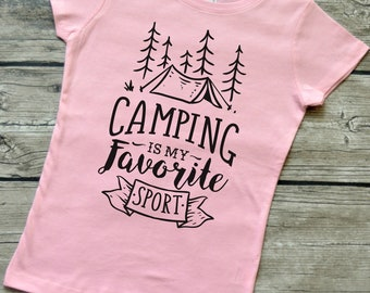 Camping Is My Favorite Sport  Girls Youth Camping Vinyl Graphic T-Shirt Sizes 3-16 & multiple colors