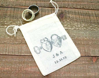 Personalized cotton wedding ring bag, rustic cloth ring bag, ring pillow, ring warming, ring bearer, heart locket with initials and date