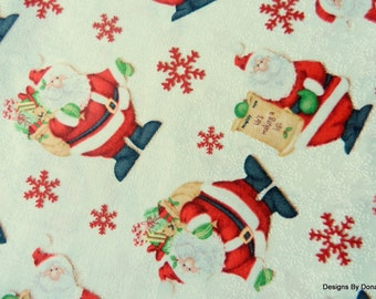 "One Fat Quarter Cut Quilt Fabric, Christmas Santa's and Snowflakes, ""Kringle Krossing"", Shelly Comiskey, Henry Glass, Sewing-Craft Supplies"