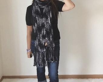 Black Pearl Hand Dyed Pure Merino Extra Long Fringe Scarf,  Ski Accessories, Winter Fashion Accessories