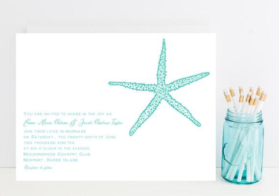 Starfish Wedding Invitation Kit: Items Similar To Starfish Wedding Invitation