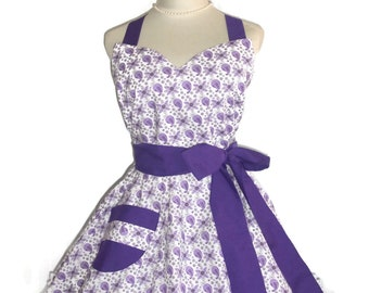 1950's Style Apron Purple and Lavender and White Pin-up Retro Style Flirty Skirt Sweetheart Neckline