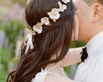 Flora Circlet, Gold flower crown, Flower Halo, Gold Headpiece, bridal circlet, flower coronet, bohemian, flower wreath, bridal halo #138