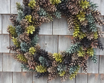 Large Pinecone Wreath Shades of Greens and Browns
