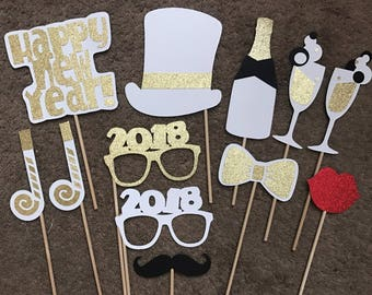12-pack White and Gold New Year's Eve Photo Booth Props   New Year's Props   ***CUSTOMIZATION AVAILABLE!***