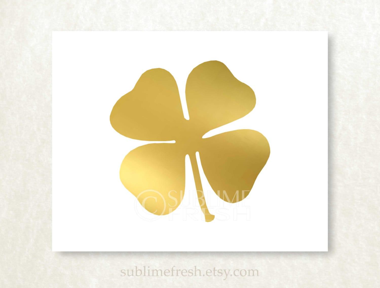 Genuine Foil Four Leaf Clover Shamrock Art Print Trendy Modern