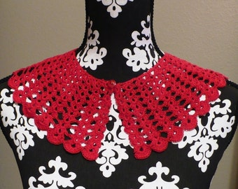 Vintage Crocheted Red Collar with Button