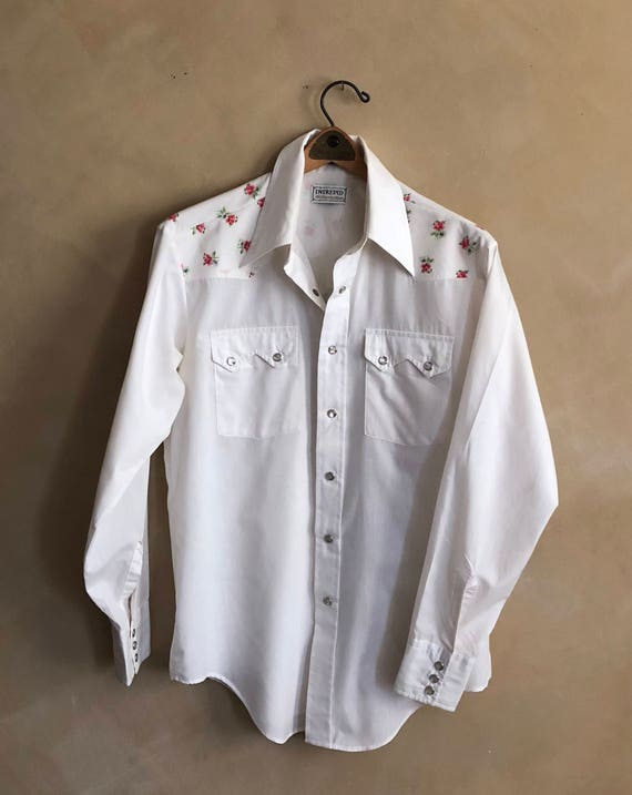 Vintage Country Western Shirt with Rose Print - size med 15-15 1/2