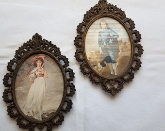 Vintage wall art Pinkie and Blue Boy pictures wall hangings metal frames patina oval Victorian artwork prints