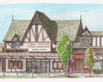 Mariemont Theater Watercolor Art Print