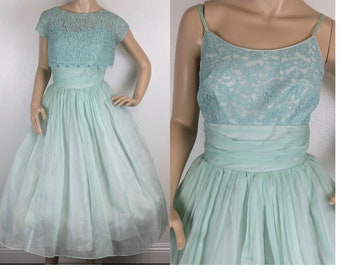 Vintage 1950s light green lace organdy taffeta party dress w/ jacket small 340