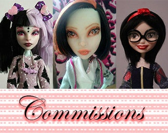 OOAK Doll Commissions Repaint/Reroot/Full Custom. Monster High, Ever After High, etc. (Deposit payment only)