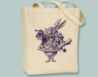 Alice in Wonderland Original Illustrantion White Rabbit on Canvas Tote - Selection of sizes and ANY color available