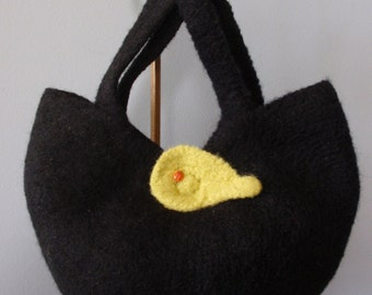 Crochet Felted Black Apple Handbag with Ladybug